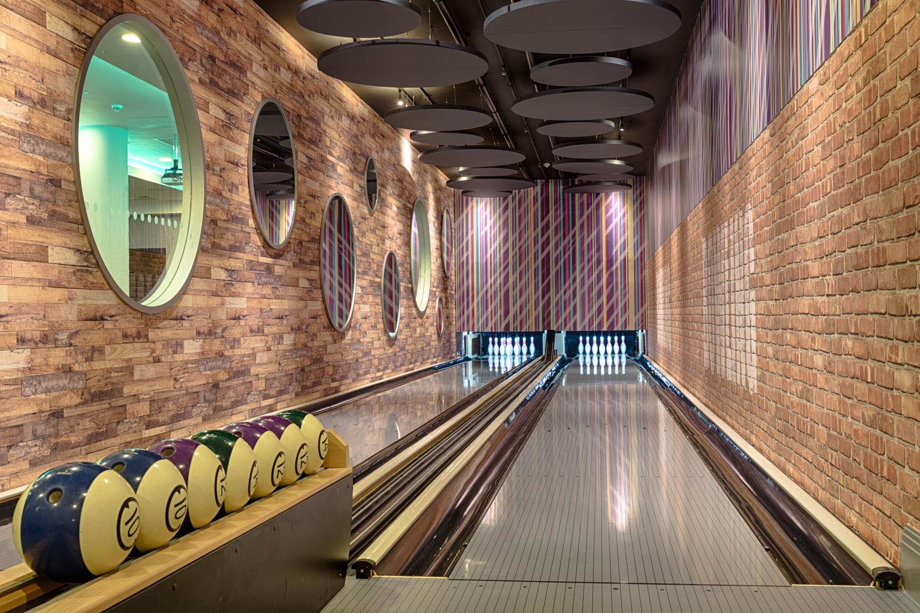 Bowling alley at a hotel