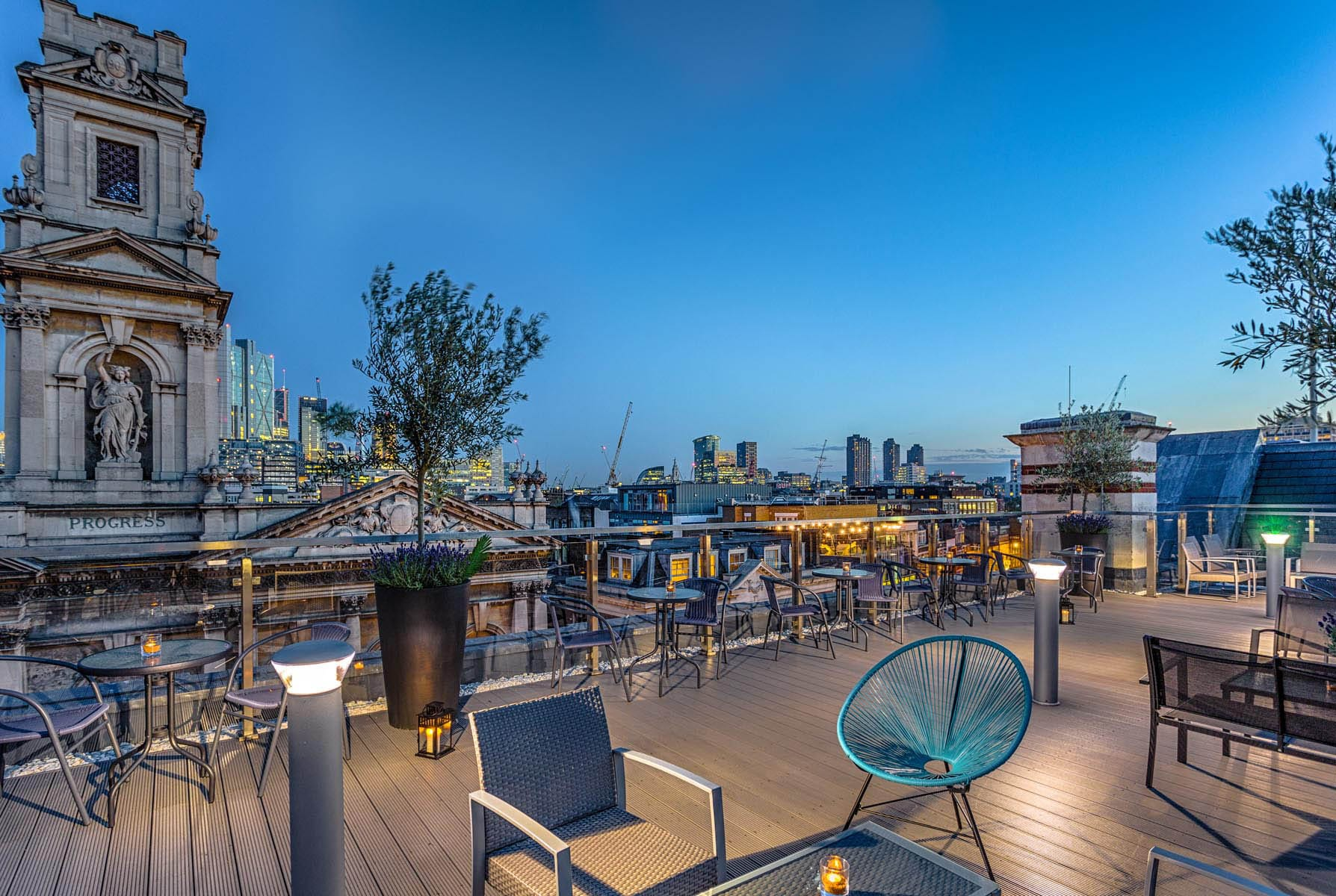 Rooftop bar in London with the city in the background