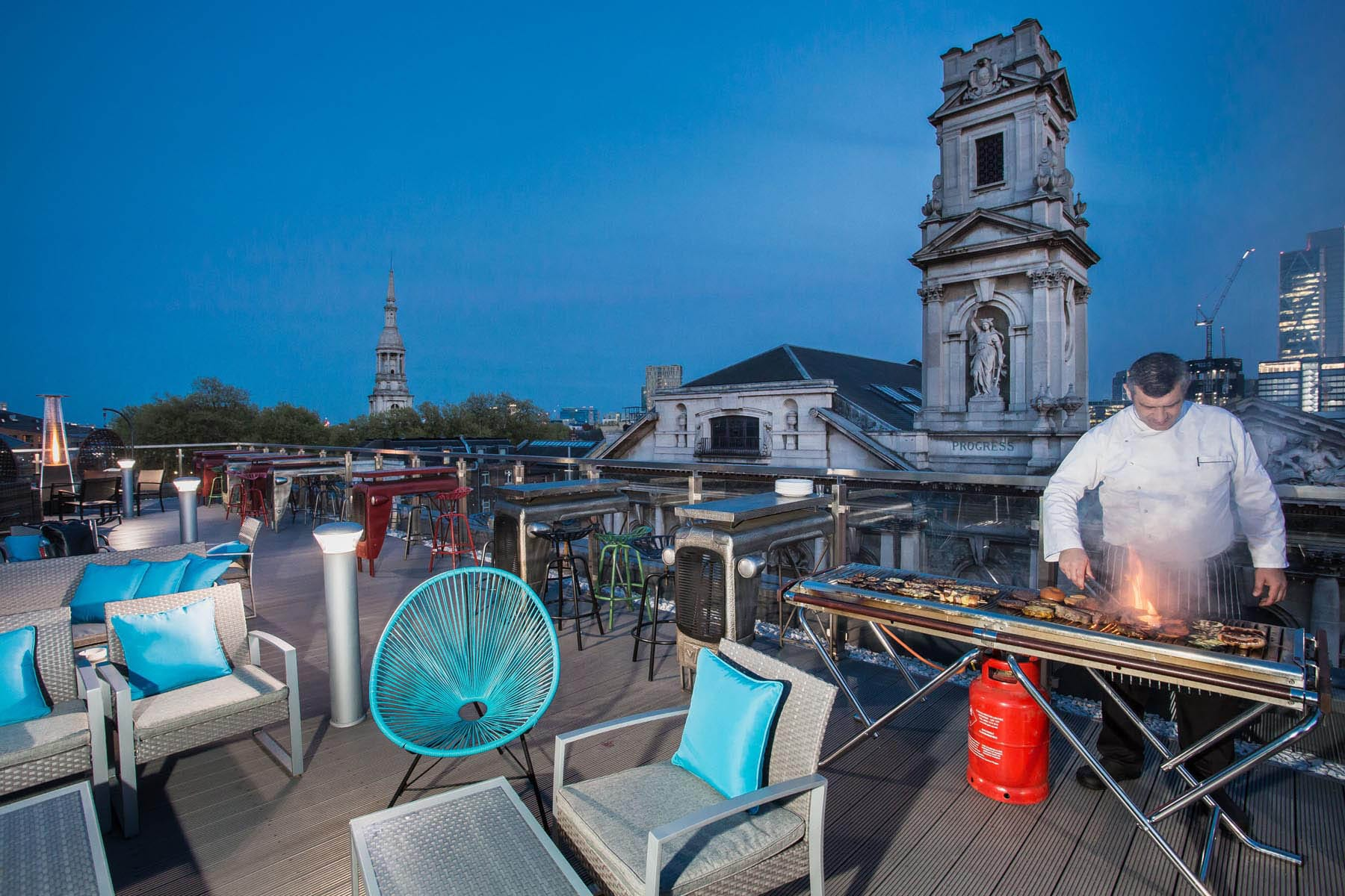 BBQ on a rooftop bar in London